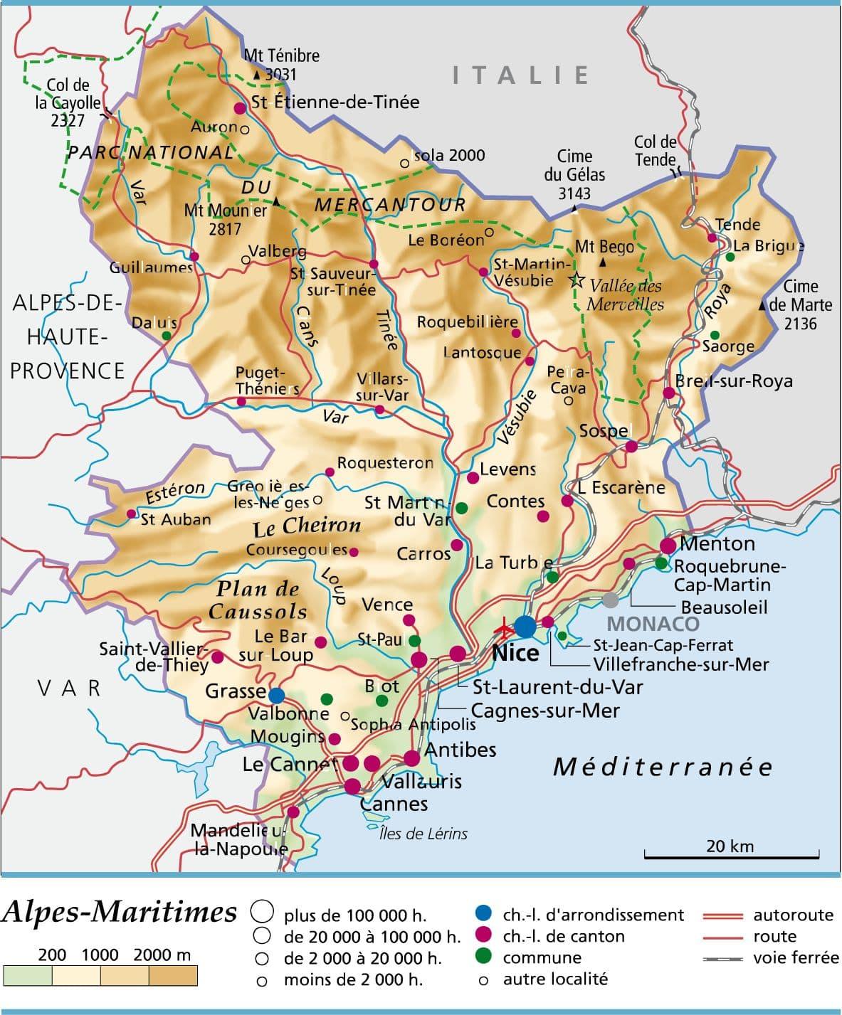 carte des alpes maritimes