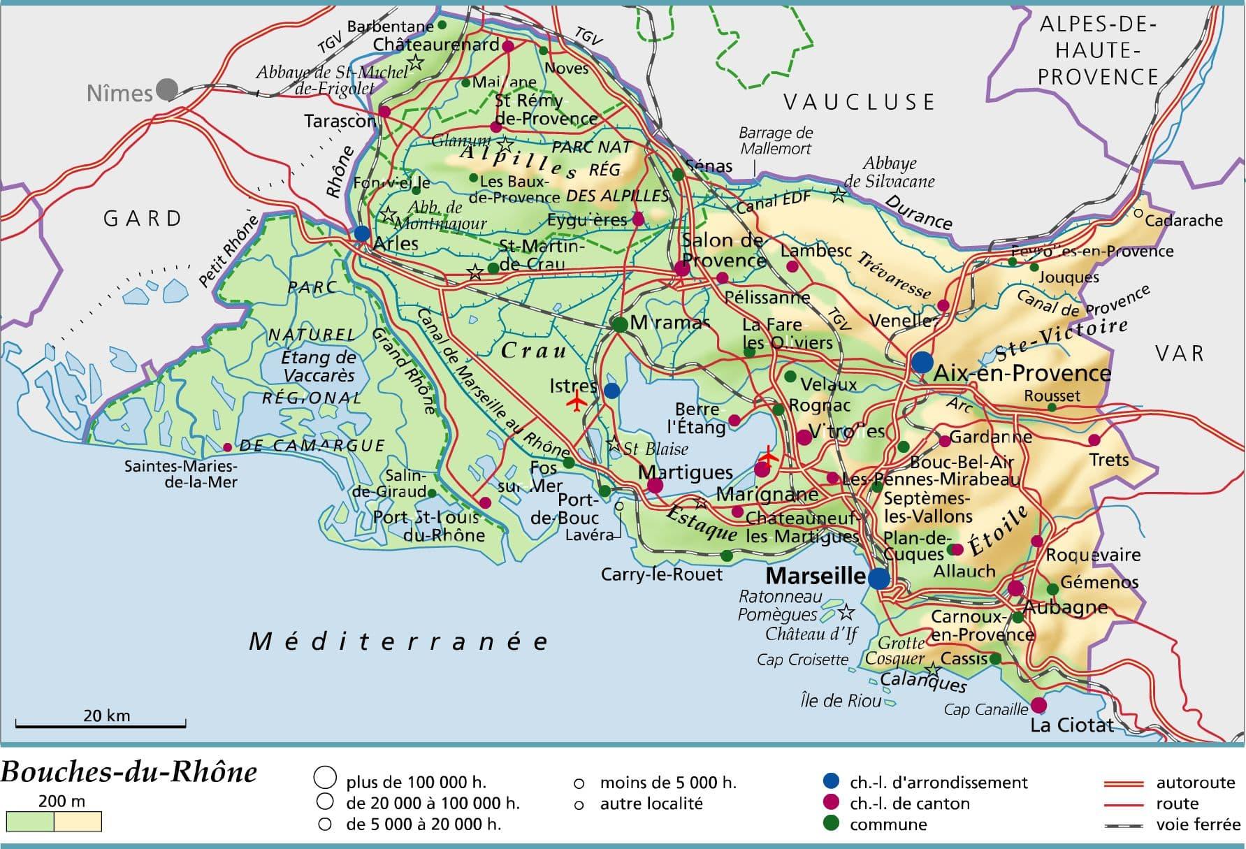 Carte des Bouches du Rhône, plan des 120 principaux lieux