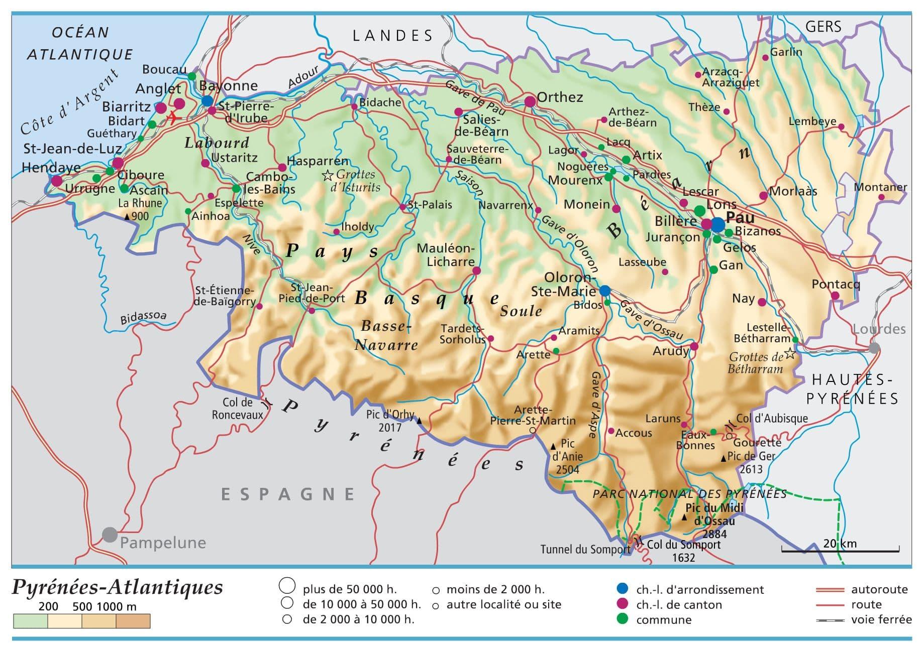 Carte Pays Basque Francais.Carte Des Pyrenees Atlantiques Plan Des 60 Lieux A Voir