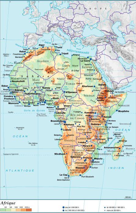Carte Hydrographique De Lafrique Du Sud.Encyclopedie Larousse En Ligne Afrique Geographie Physique