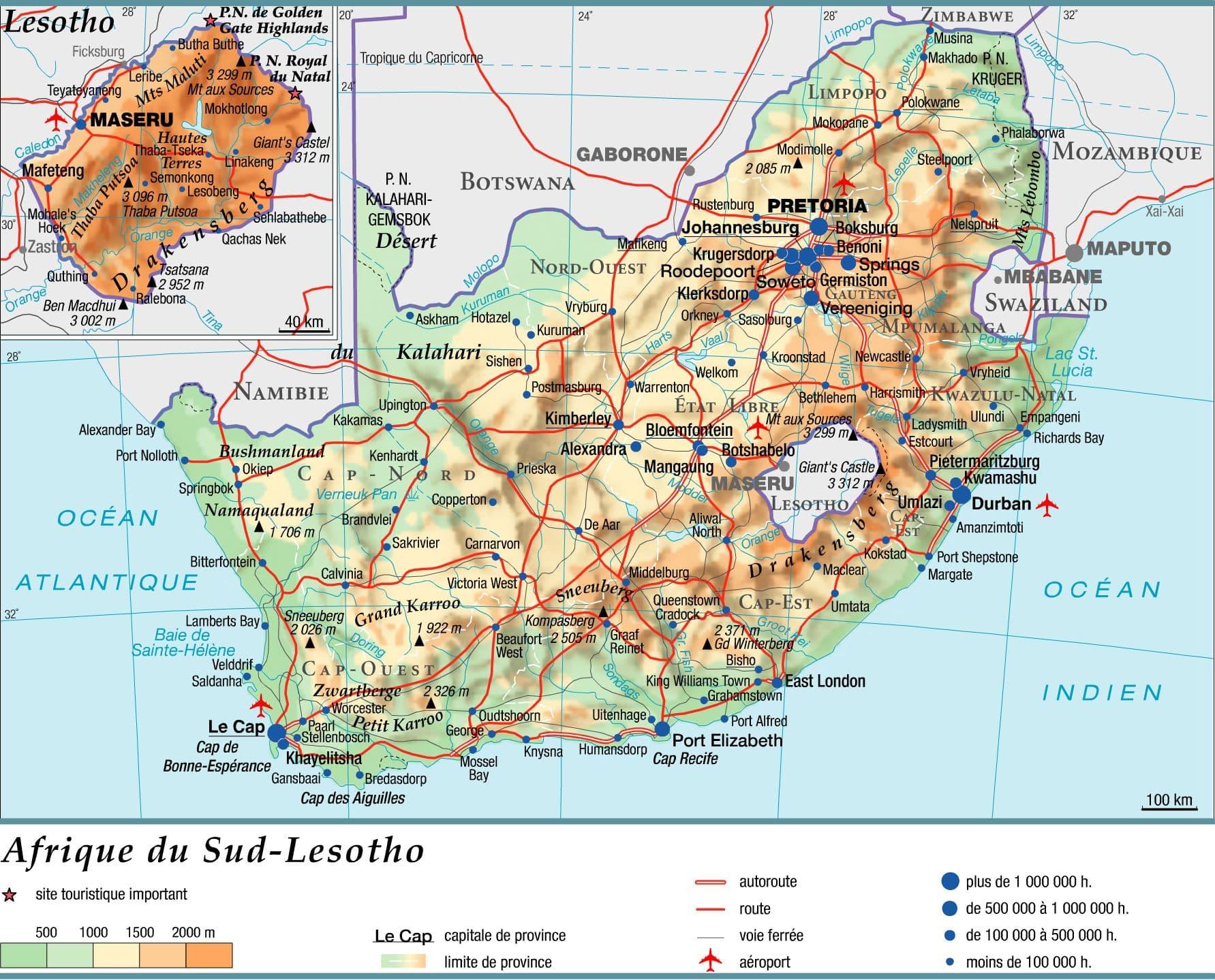 carte afrique du sud - g u00e9ographie