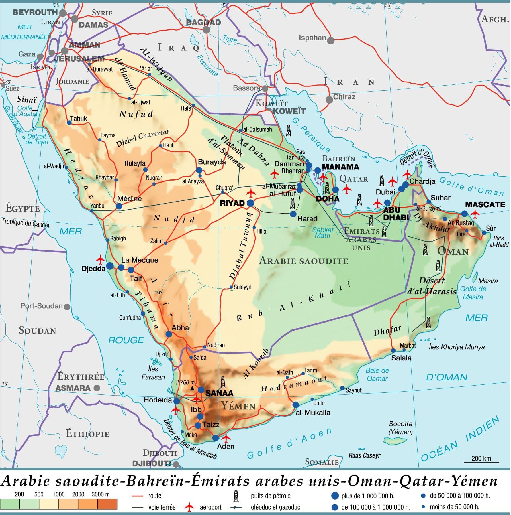 Arabie saoudite - Bahreïn - Émirats arabes unis - Oman - Qatar - Yémen