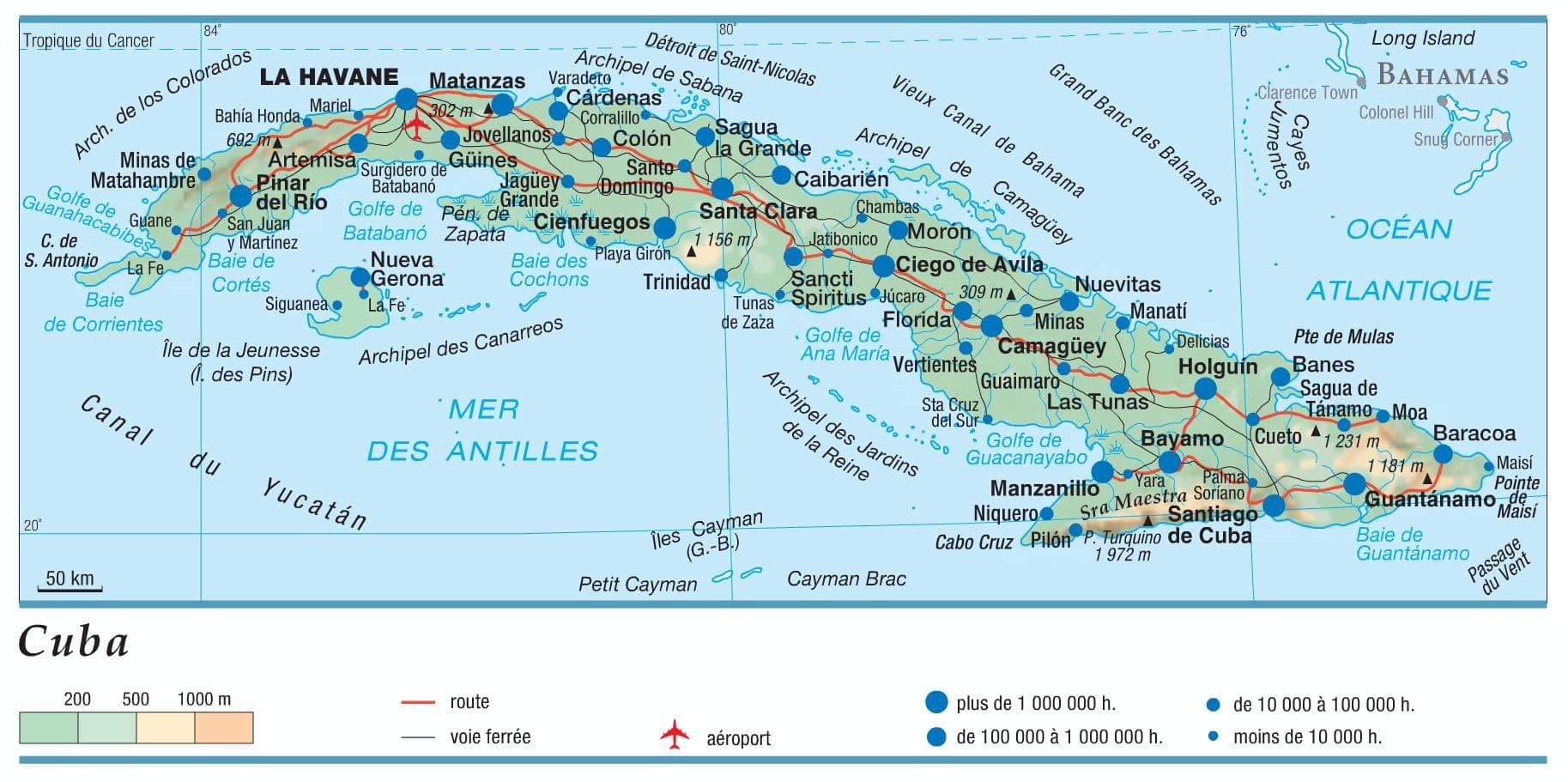 Carte De Cuba Avec Aeroport.Encyclopedie Larousse En Ligne Cuba