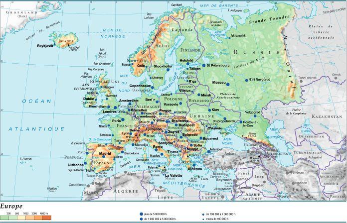 Carte Geographique De Leurope Occidentale.Encyclopedie Larousse En Ligne Europe