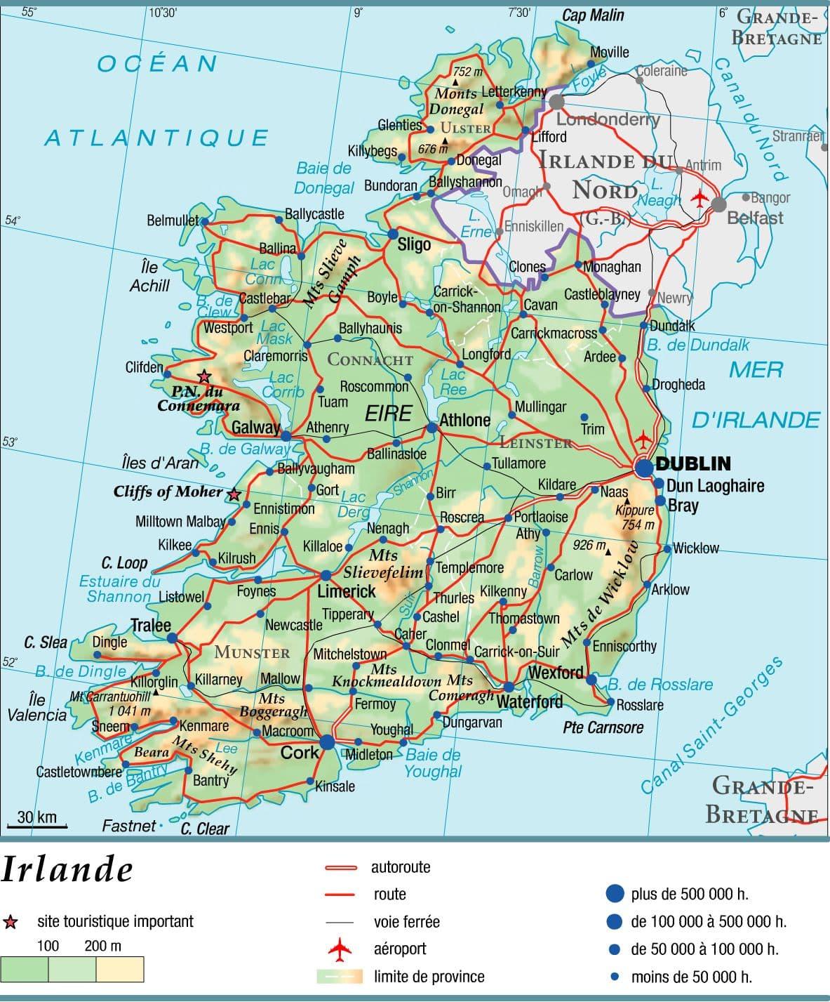 Encyclopédie Larousse en ligne   Irlande : géographie physique