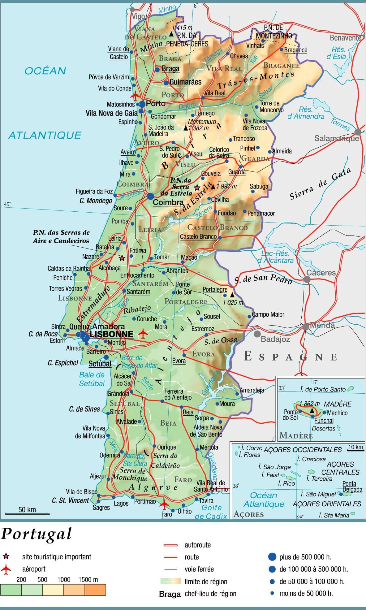 carte-du-portugal-en-francais - Photo
