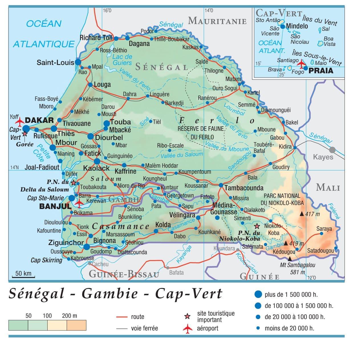 Carte Senegal Cap Vert.Encyclopedie Larousse En Ligne Senegal Gambie Cap Vert