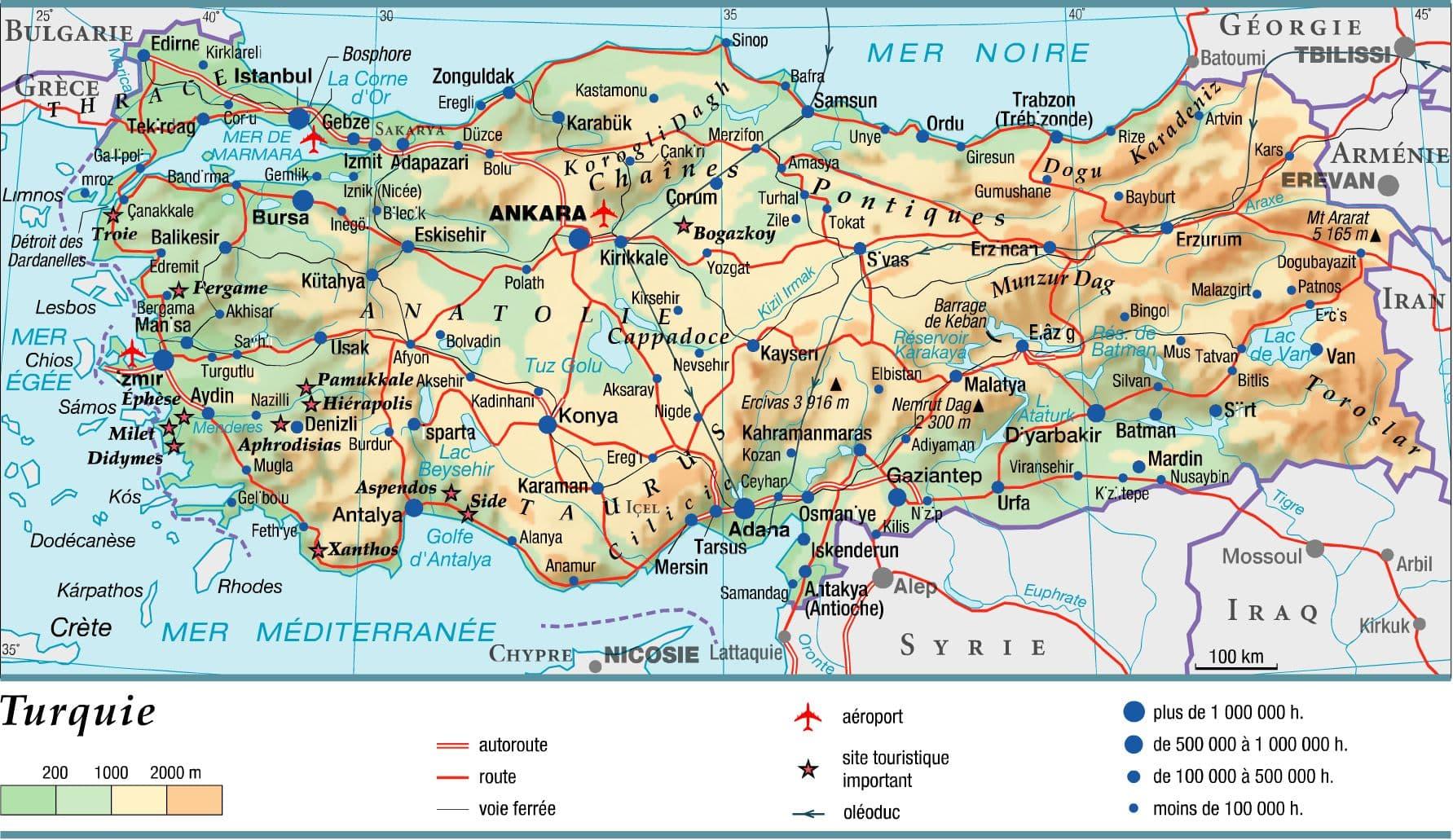 Carte Asie Relief Et Hydrographie.Encyclopedie Larousse En Ligne Turquie