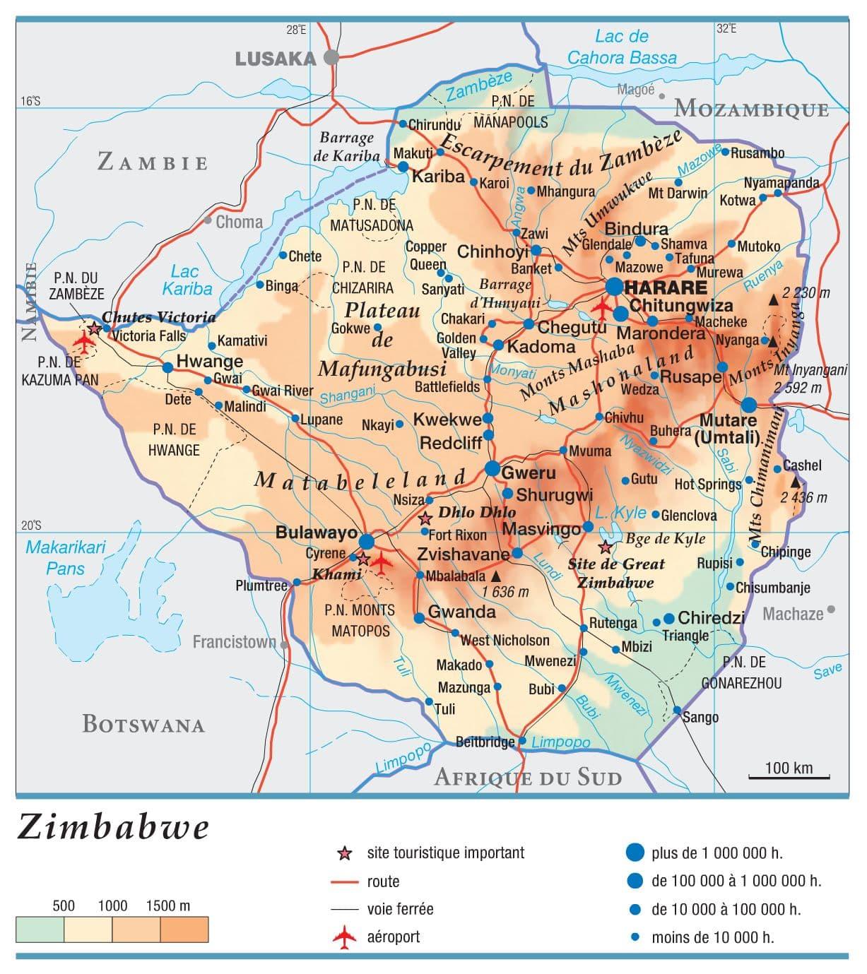 carte géographique du zimbabwe