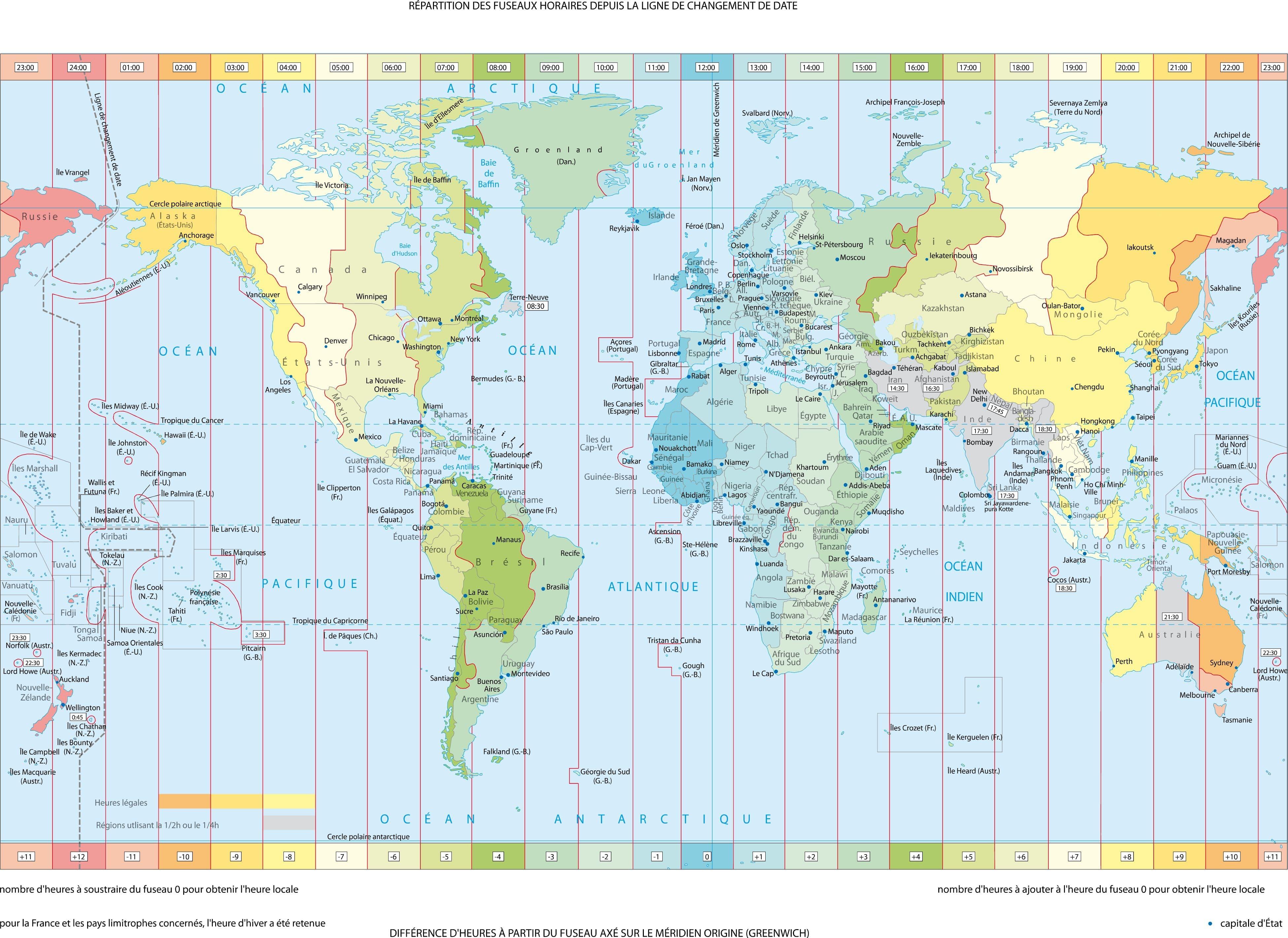 fuseau horaire mondial en direct