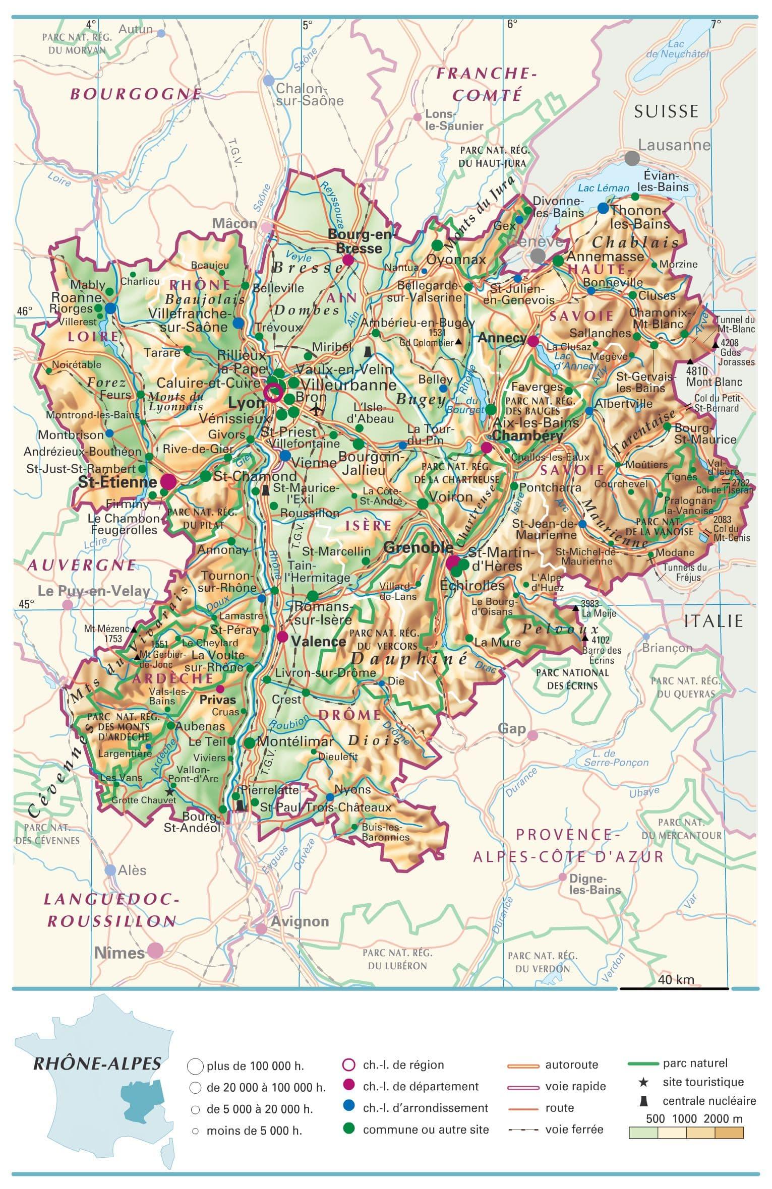 carte région rhône alpes détaillée