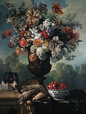 François Desportes, Nature morte  fleurs, lapins, caille,