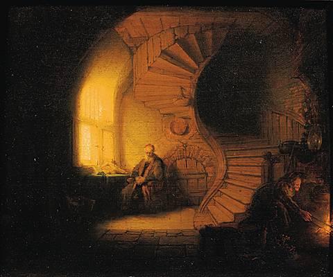 Rembrandt, Philosophe en méditation