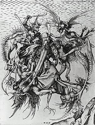 Martin Schongauer, la Tentation de saint Antoine
