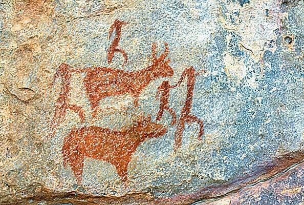 Peinture rupestre du Botswana