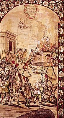 Cortés ordonne que l'on détruise et brûle les idoles