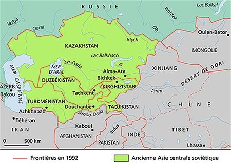 républiques d asie centrale carte géographique