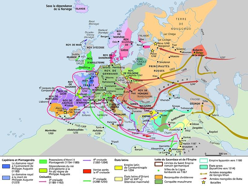 carte europe xie siecle