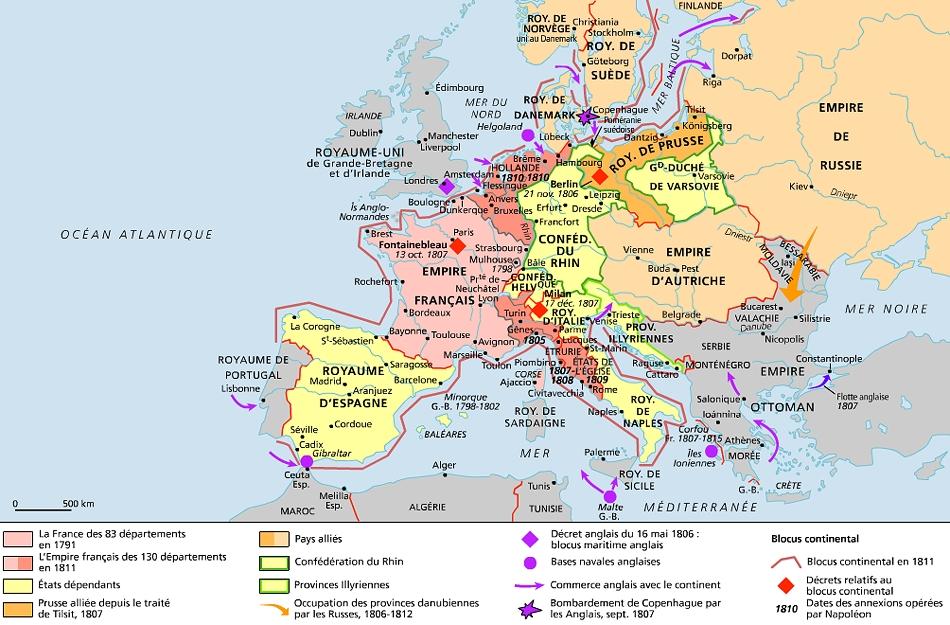 Carte De Leurope Sous Napoleon.Encyclopedie Larousse En Ligne Premier Empire