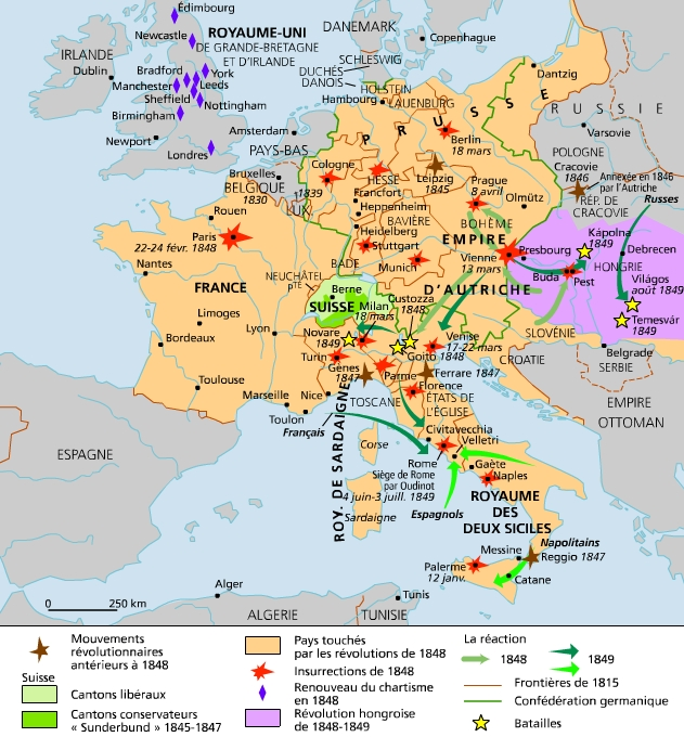 Carte Europe Industrielle.Encyclopedie Larousse En Ligne Revolutions Europeennes De 1848
