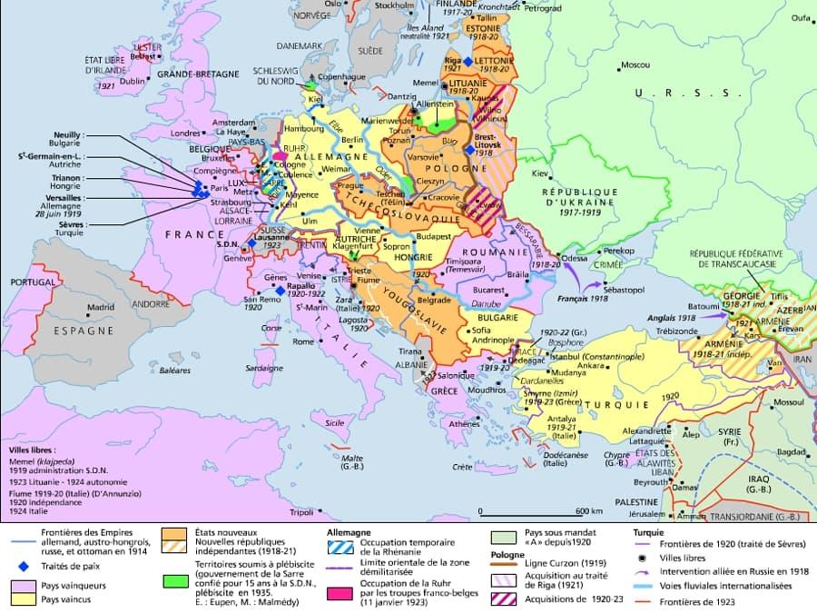 Carte De Leurope Apres La 1ere Guerre Mondiale.Encyclopedie Larousse En Ligne Europe Histoire