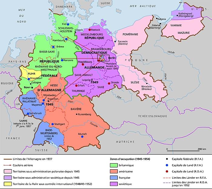 Carte Occupation Allemagne 1945.Encyclopedie Larousse En Ligne Allemagne Histoire