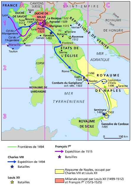 Carte Italie Xve Siecle.Encyclopedie Larousse En Ligne Guerres D Italie
