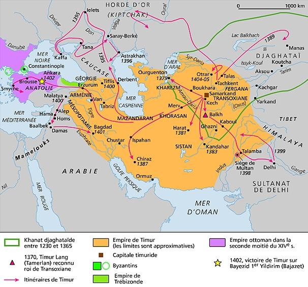 Resultado de imagen de mapa imperio de tamerlan