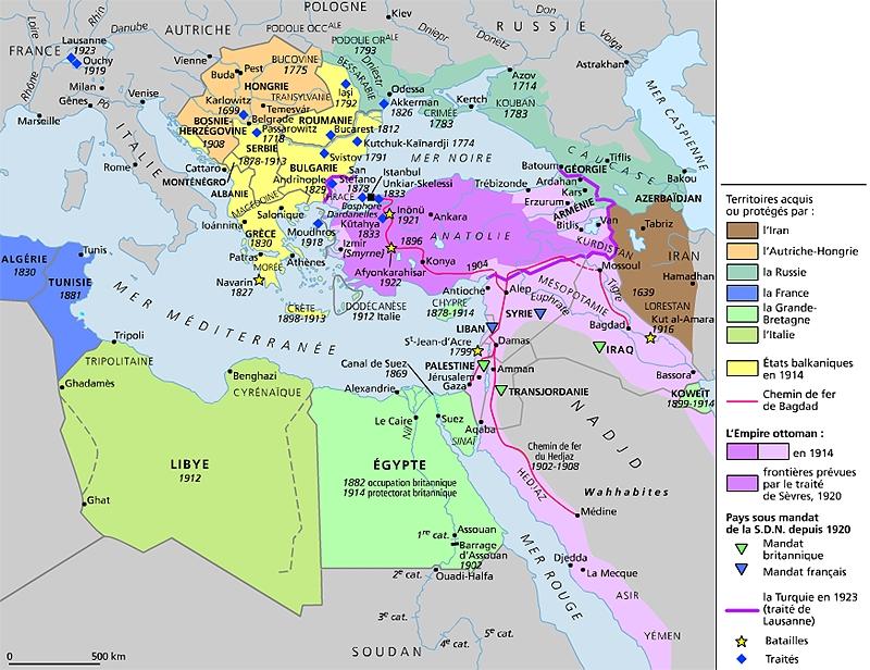 Encyclop die larousse en ligne le d membrement de l 39 empire ottoman - La carte de l empire ottoman ...
