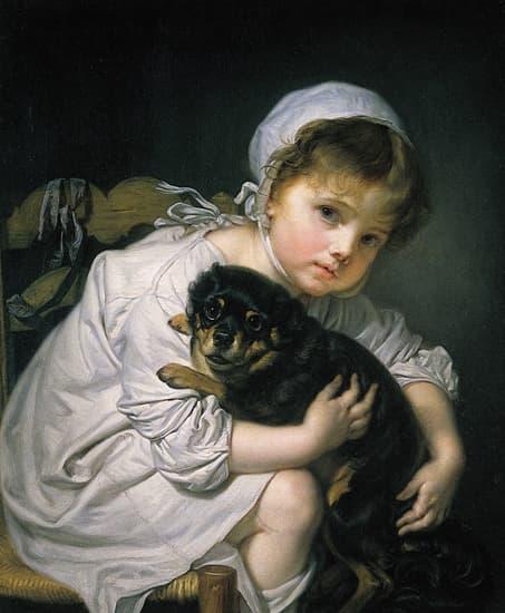 Jean-Baptiste Greuze, i Une jeune enfant qui joue avec un chien /i