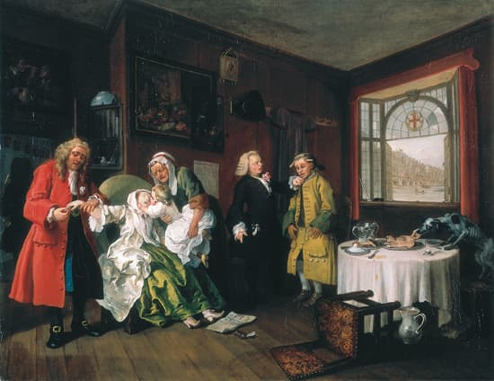 William Hogarth, le Mariage à la mode : la mort de la comtesse