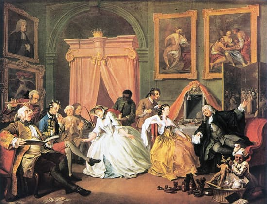 William Hogarth, le Mariage à la mode : la toilette