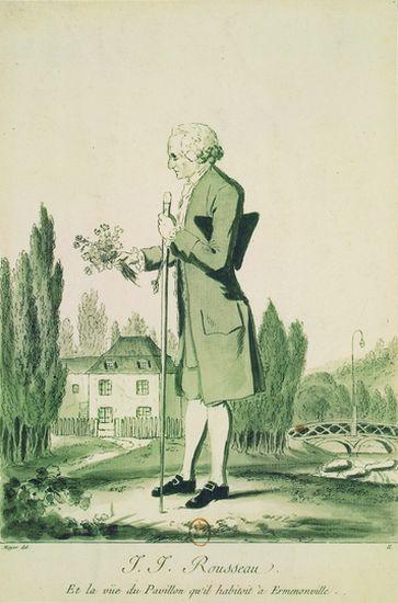 Jean-Jacques Rousseau dans son jardin à Ermenonville