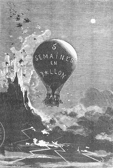 Jules Verne, frontispice de <i>Cinq Semaines en ballon</i>