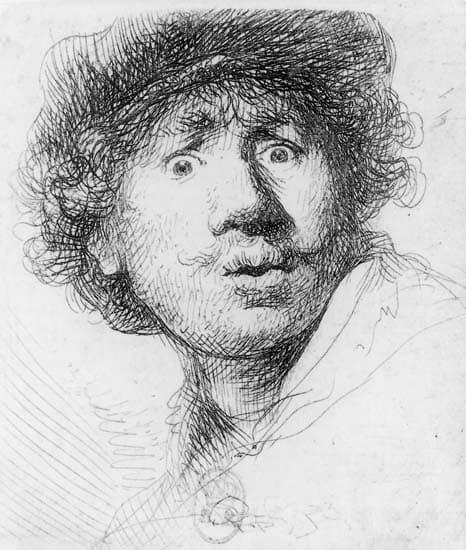 Rembrandt, Autoportrait aux yeux hagards