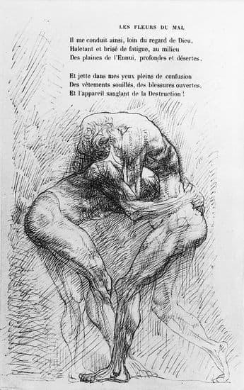 Auguste Rodin, illustration pour les Fleurs du mal de Baudelaire