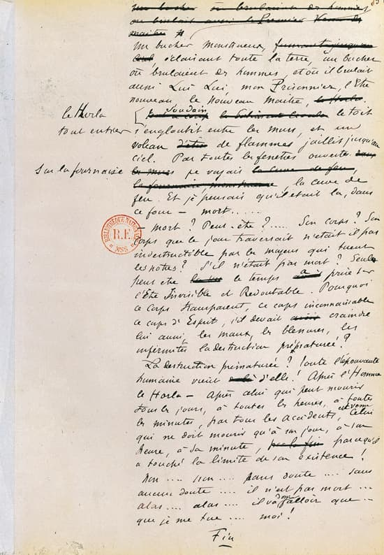 Guy de Maupassant, manuscrit du Horla