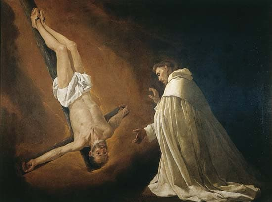 Francisco de Zurbarán, Apparition de saint Pierre crucifié à saint Nolasque