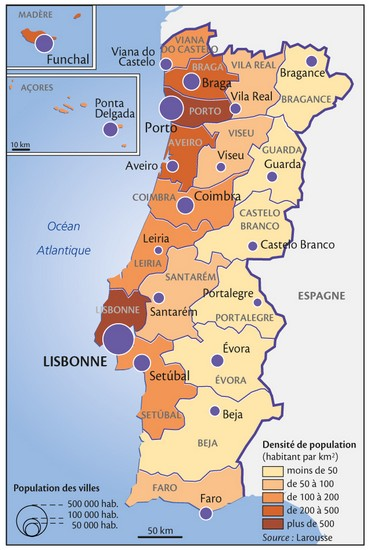 Densité de la population par district au Portugal