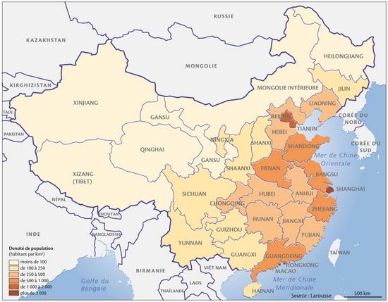 Carte Chine Villes Provinces.Encyclopedie Larousse En Ligne Chine Population