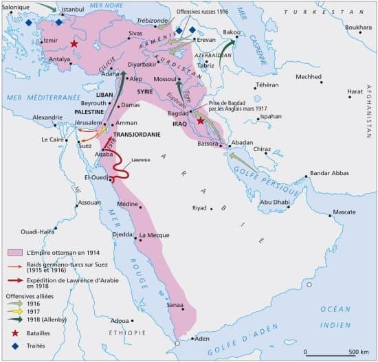 Encyclop die larousse en ligne l empire ottoman pendant la premi re guerre mondiale - La carte de l empire ottoman ...